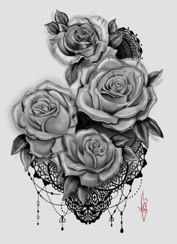 Five Red Roses starting at the hip bone down to top of thigh