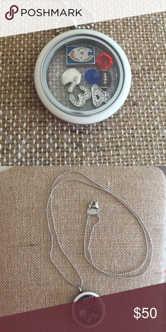 """NWT Origami Owl twist locket, chain, and charms This is a new Origami Owl twist locket with a white face, 30"""" ball chain, football, helmet, orange and blue crystals, 34, and Chicago Bears logo. (All items are Origami Owl EXCEPT Bears charm.) Origami Owl  Jewelry Necklaces"""