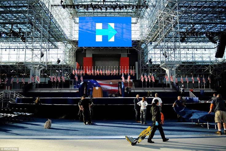 Preparations are made for Democratic U.S. presidential nominee Hillary Clinton's election night rally at the Jacob K. Javits Convention Center in New York