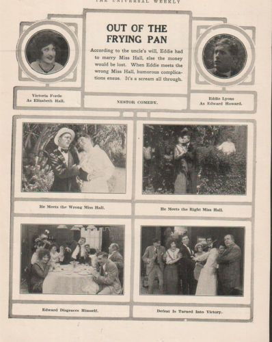 Out Of The Frying Pan  Nestor Comedy- Victoria Forde Eddie Lyons 1914 Ad-