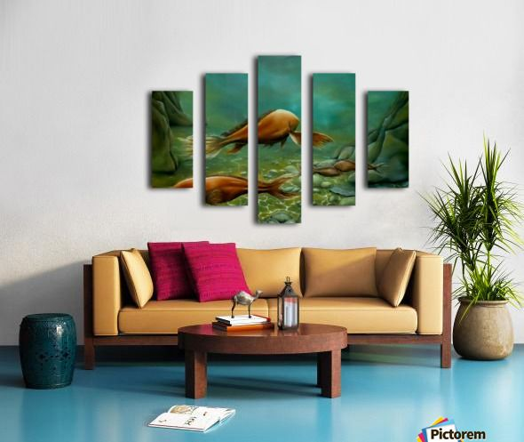 green, living room decor, canvas print, split canvas, polyptych, fish, seabed, underwater, deep, ocean, sea, floor, wildlife, seascape