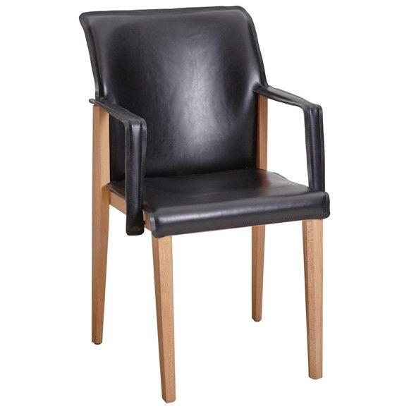 ARMLEHNSTUHL in Buche Dickleder Buchefarben, Schwarz - Armlehnenstühle - Stühle - Esszimmer - Produkte