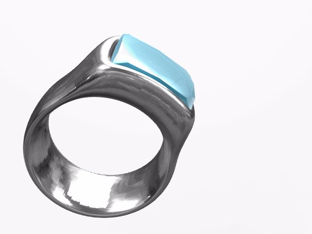 Ring with saphire - a 3D jewerly model created with VECTARY - the free online 3D modeling tool #3Dprinting