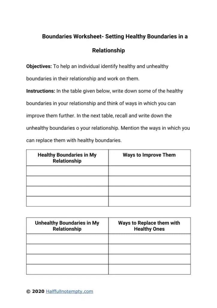 Boundaries Worksheets(7+) in 2021 | Boundaries worksheet