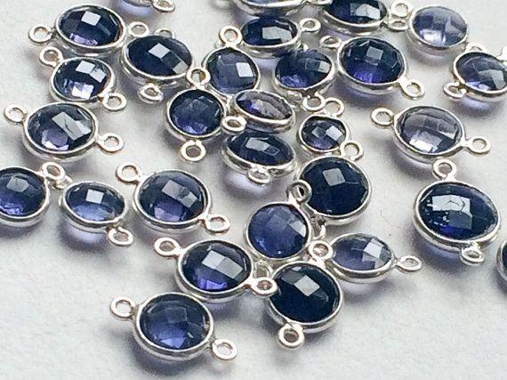 5 Pcs Crystal Quartz Connectors Violet Blue by gemsforjewels