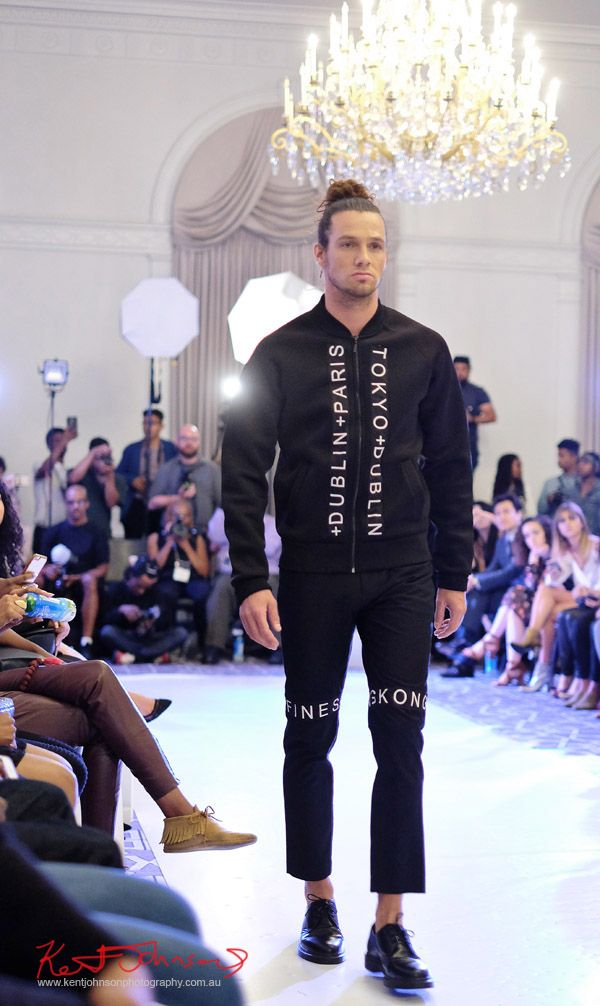 Menswear, Graphic zipper jacket/pants Streetwear Label  Finesse UK at Bracé NYFW. Photographed by Kent Johnson.