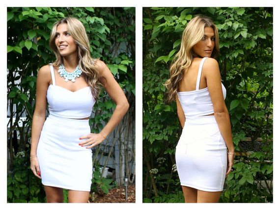Two piece sweetheart crop top and skirt set two by Batelboutique