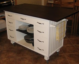 DIY Kitchen Island From Old Desk.. Love The Wheels! Cover The Surface With