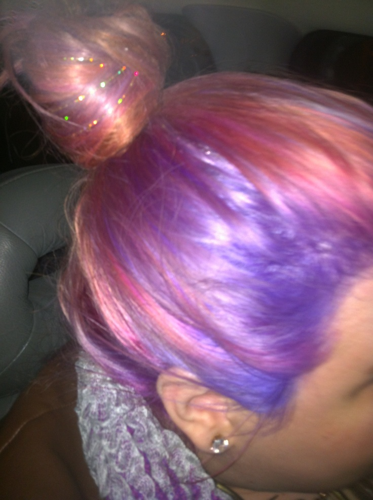 Here is a pic of my hair! Pink and purple hair with holographic hair-tinsel   -ChristieCupcake