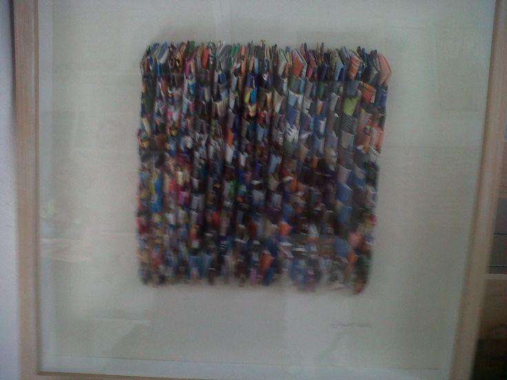 cuadro en pael reciclado
