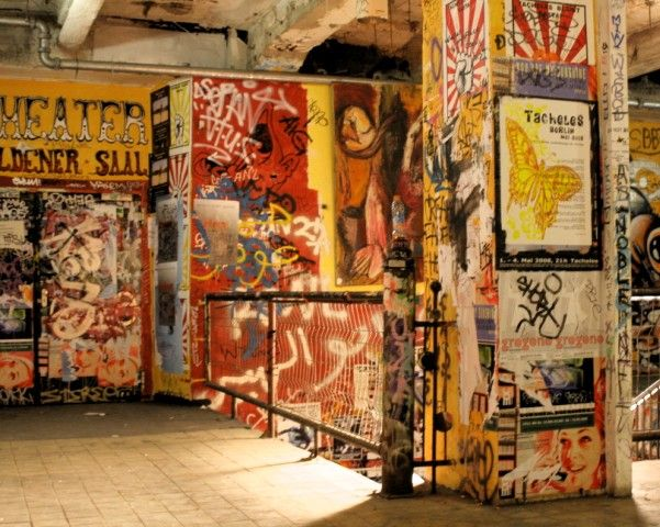 "Tacheles, Berlin- one of the last communal art spaces in the city; means ""straight talk"""