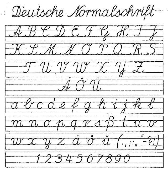 Deutsche normalschrift ab 01091941 - Schreibschrift – Wikipedia Deutsche Normalschrift, ab 1941