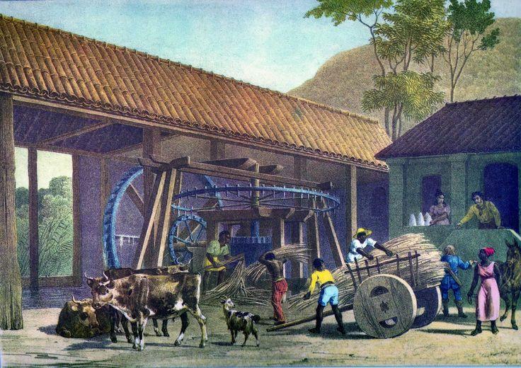 """""""Moulin à Sucre"""", óleo sobre tela do alemão Johann Moritz Rugendas, que viajou por todo o Brasil de 1822 a 1825 pintando os povos e os costumes que encontrou. Veja mais em: http://semioticas1.blogspot.com.br/2011/08/tem-sambafoto-dos-bambas-cascata-donga.html"""