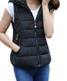 Anmengte Women Spring Warm Lightweight Hooded Down Vest Jacket Coat Zipper Outwear Plus Size (XL Black)