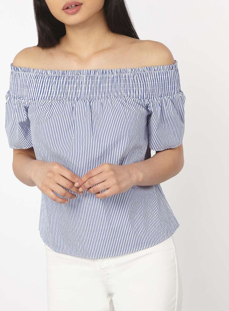 Womens Petite Blue Stripe Bardot Top- Blue