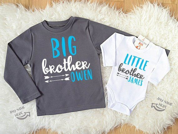 cf1bdadb Custom Big Brother Little Brother Shirts. Matching Brother Clothes. Personalized  Brother Shirts. Custom Sibling Clothes.
