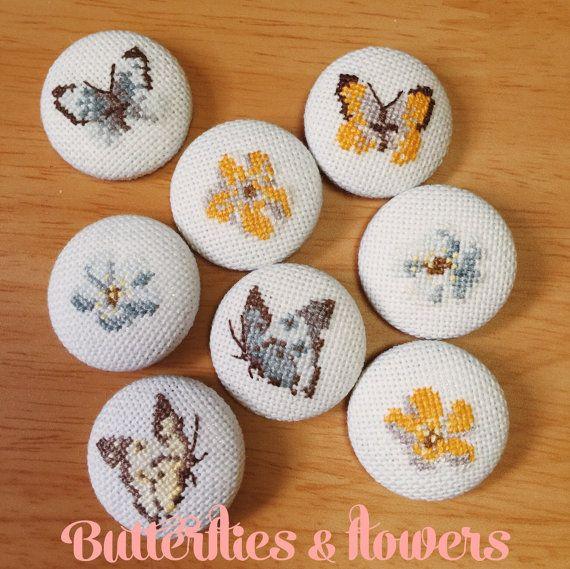 Cross stitch buttons  Butterflies and flowers by RainforestSky