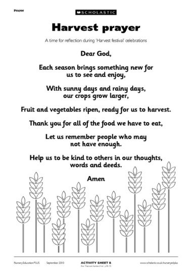 Harvest Prayer - this is sweet to share at the breakfast table for family devotions.