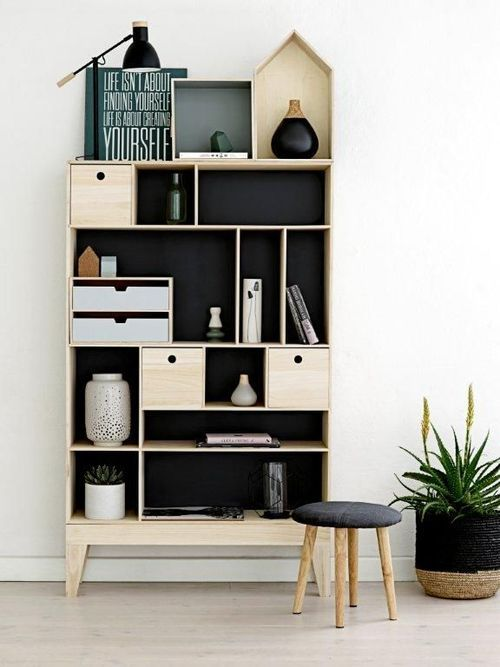 cute shelves with black background