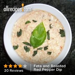 Feta and Roasted Red Pepper Dip from Allrecipes.com #protein #veggies