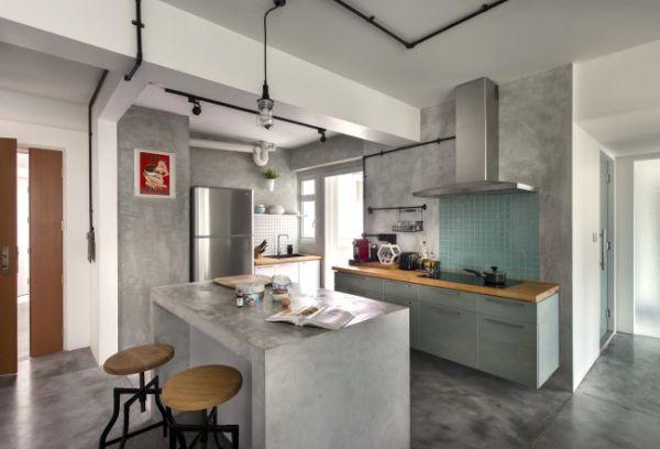 #Modern #minimalist #industralist #singapore #apartment #kitchen #cement #grey