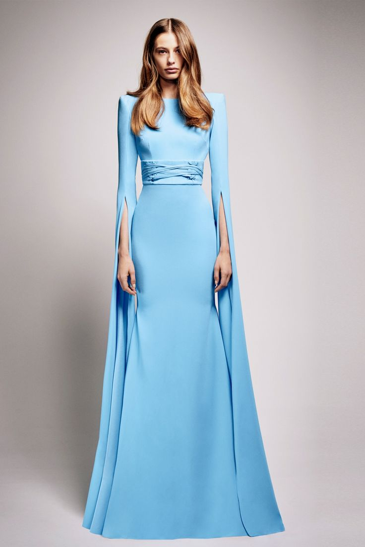 Alex Perry - Courtney - Satin Crepe Long Sleeve Gown - Long Sleeved - Frockaholics / Online Shopping / Clothes Online / Shoes Online / Accessories Online