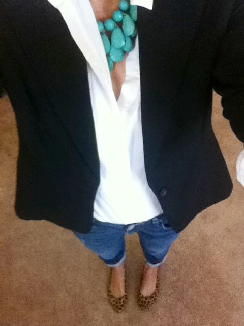 Dressing up my boyfriend jeans. Black blazer and white oxford shirt from Target, Gap boyfriend jeans, turquoise necklace (Compass Trading), and my favorite Aldo leopard flats.