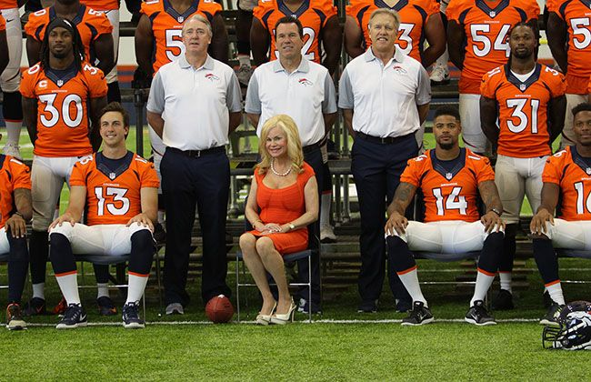 With Owner Pat Bowlen represented by his wife Annabel, the Broncos posed for their annual team photo at the UCHealth Training Center.