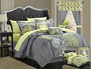 Chic Home 20-Piece Olivia Paisley Print Reversible Comforter Set, Queen, Grey/Yellow