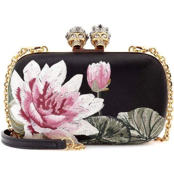 Alexander McQueen Embroidered Silk-Satin Clutch ($2,285) ❤ liked on Polyvore featuring bags, handbags, clutches, multicoloured, colorful purses, embroidered handbags, embroidered clutches, multi colored purses and multi colored handbags