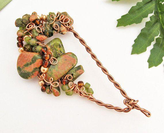 Charming Shawl Pin Unakite Semi Precious Stones By TrishDesignsJewelry, $49.00