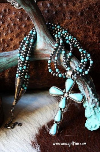 Turquoise Cross Pendant and Turquoise and Navajo Pearl Necklace from Cowgirl Kim