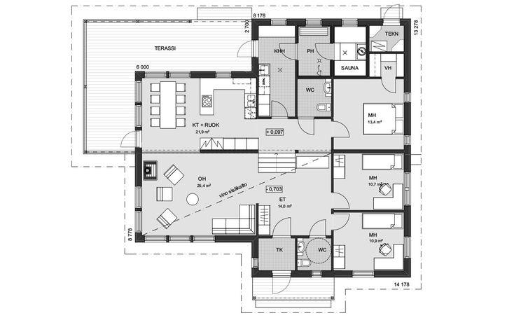 Loivalle rinnetontille sopiva koti. Tuulikaappi antaa lisätilaa ja pitää talon lämpimänä. Kolme makuuhuonetta, joista isoimmassa oma vaatehuone ja tilaa vaikkapa kampauspöydälle. Tilava olohuone saa lisää avaruuden tuntua vinon sisäkaton ansiosta. Ikkunoiden ääressä sijaitsevasta ruokailutilasta on näköala terassille. Talossa on kaksi wc:tä. Saunassa on hyvin tilaa vastakkaisille lauteille, ja tilavasta kodinhoitohuoneesta on kulku terassille, joka kiertää... Read more »
