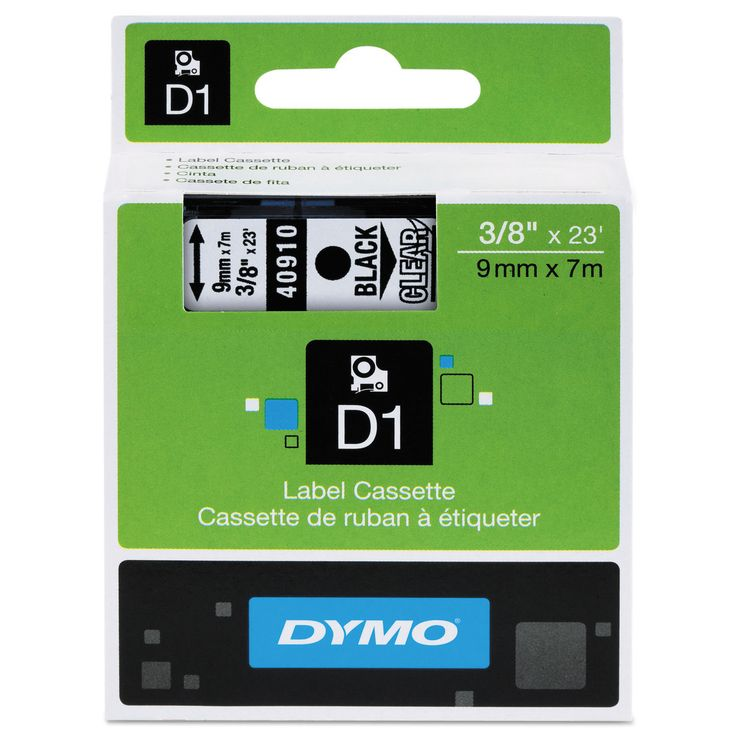 Dymo D1 High-Performance Removable Label Tape 3/8-inch x 23-feet on Clear