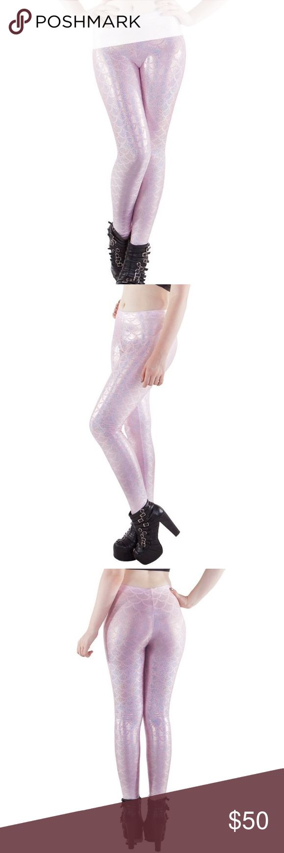 ✨ Living Dead Bubblepop Electric Mermaid Leggings Brand new with tags. Size Small. Pretty light pink Metallic mermaid scales. Australian brand Living Dead Clothing, made of nylon. Sold out online!! Blackmilk Pants Leggings
