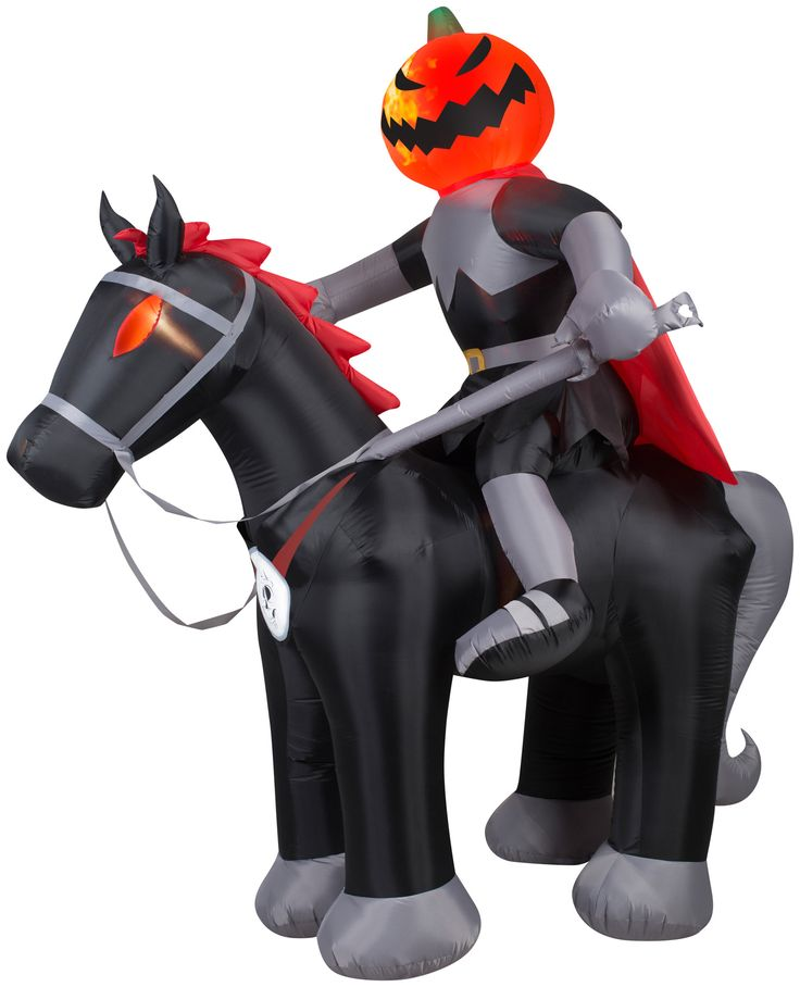 8' Projection Airblown Fire and Ice Jack-O-Latern Horseman Halloween Inflatable