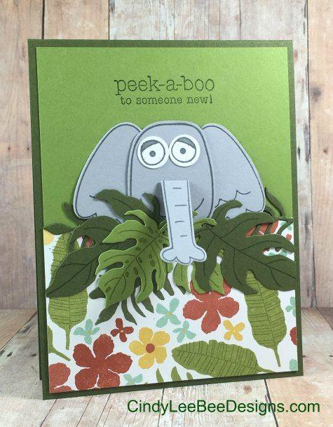 handmade kids' card: SU Playful Pals with Botanical Blooms Elephant ... super cute!! ...