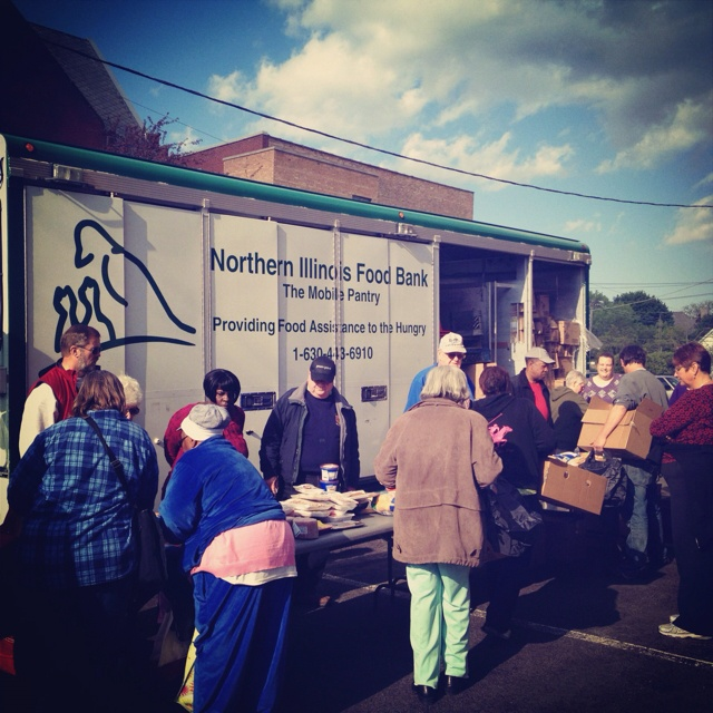 Church members hosting and volunteering the Northern Illinois Food Bank Mobile Food Pantry, Tuesday, April 17th. 100s of families served. We are blessed as so are others!