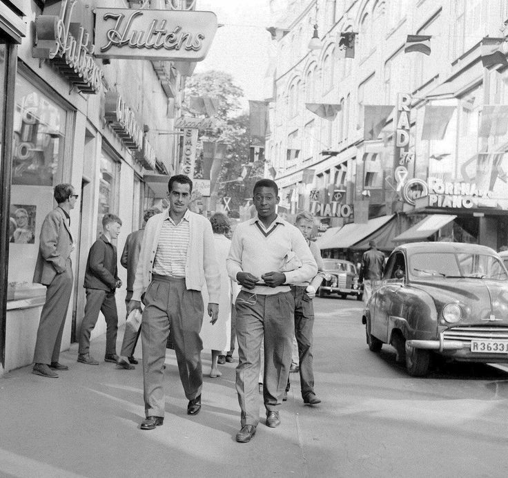 A 17 year-old Pelé in Sweden before the start of the 1958 World Cup.