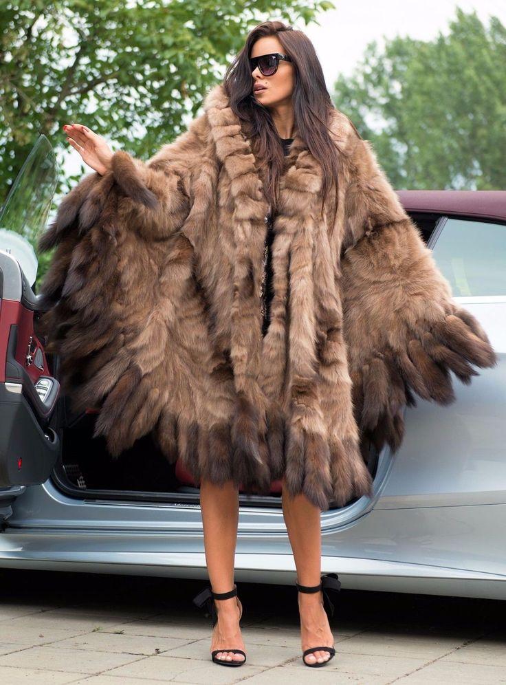 NEW RUSSIAN SABLE FUR LONG PONCHO HOOD CLAS JACKET COAT MINK FOX LYNX CHINCHILLA | eBay