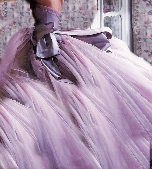frothy lavender ball gown