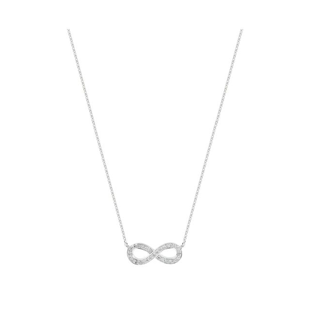 9ct White Gold 0.15ct Infinity Pendant   Necklaces   Jewellery   Goldsmiths