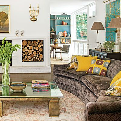Stylish North Carolina Rancher. Living Room ...