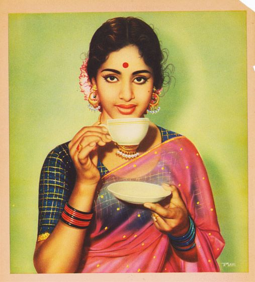 An Indian woman sips tea.  Sample from a catalogue of calendar images, circa 1950s-60s.