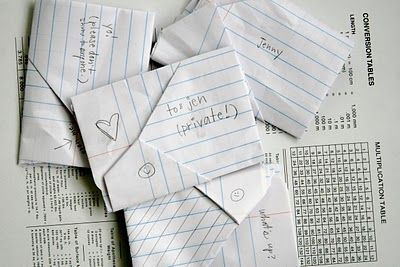 @Renee Jensen Do you still have that notebook full of these from middle school? I remember you taught me how to fold notes in all these cute little ways. :)