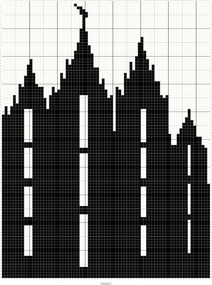 LDS Salt Lake City Utah Temple Silhouette Cross Stitch Pattern- Free