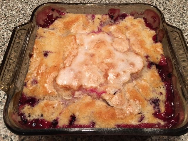 A melt in your mouth Rhubarb Huckleberry Cobbler!