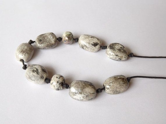 Ceramic Raku Necklace by BlueBirdyDesign on Etsy, €19.00