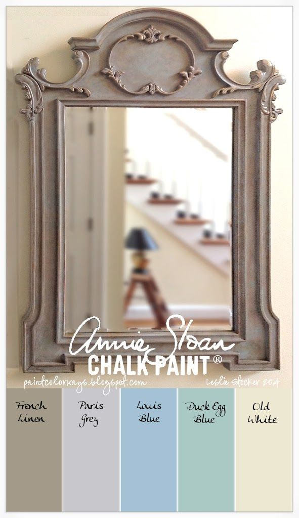 The original color of this mirror was a bright yellow. Annie Sloan Chalk Paint® was layered and blended starting with French Linen in a solid first coat. Paris Grey, Louis Blue and Duck Egg Blue w...