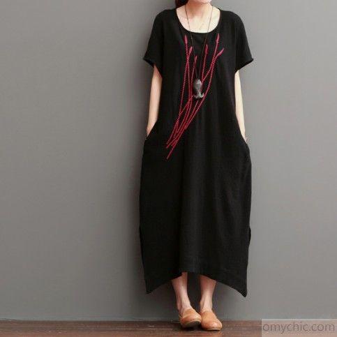 Embroideried ears of rice black linen maxi dresses sundress